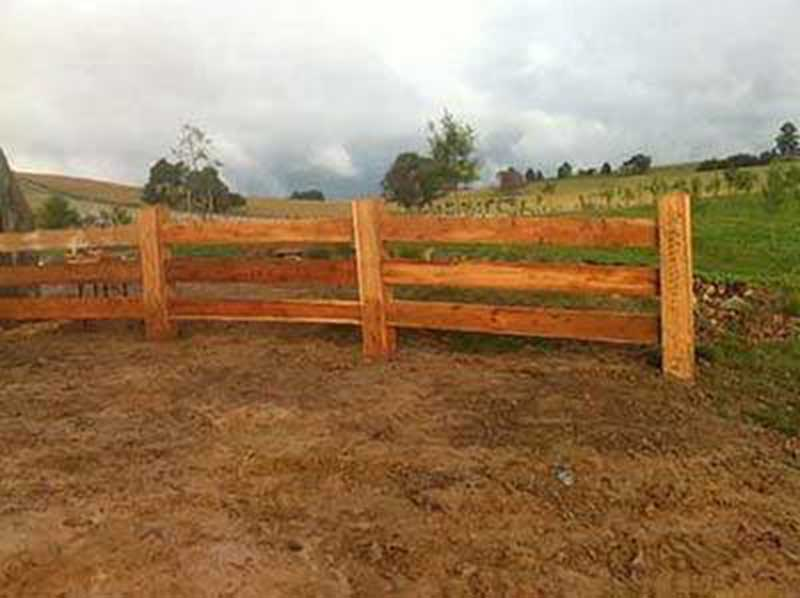 Cypress pine post and rail fencing